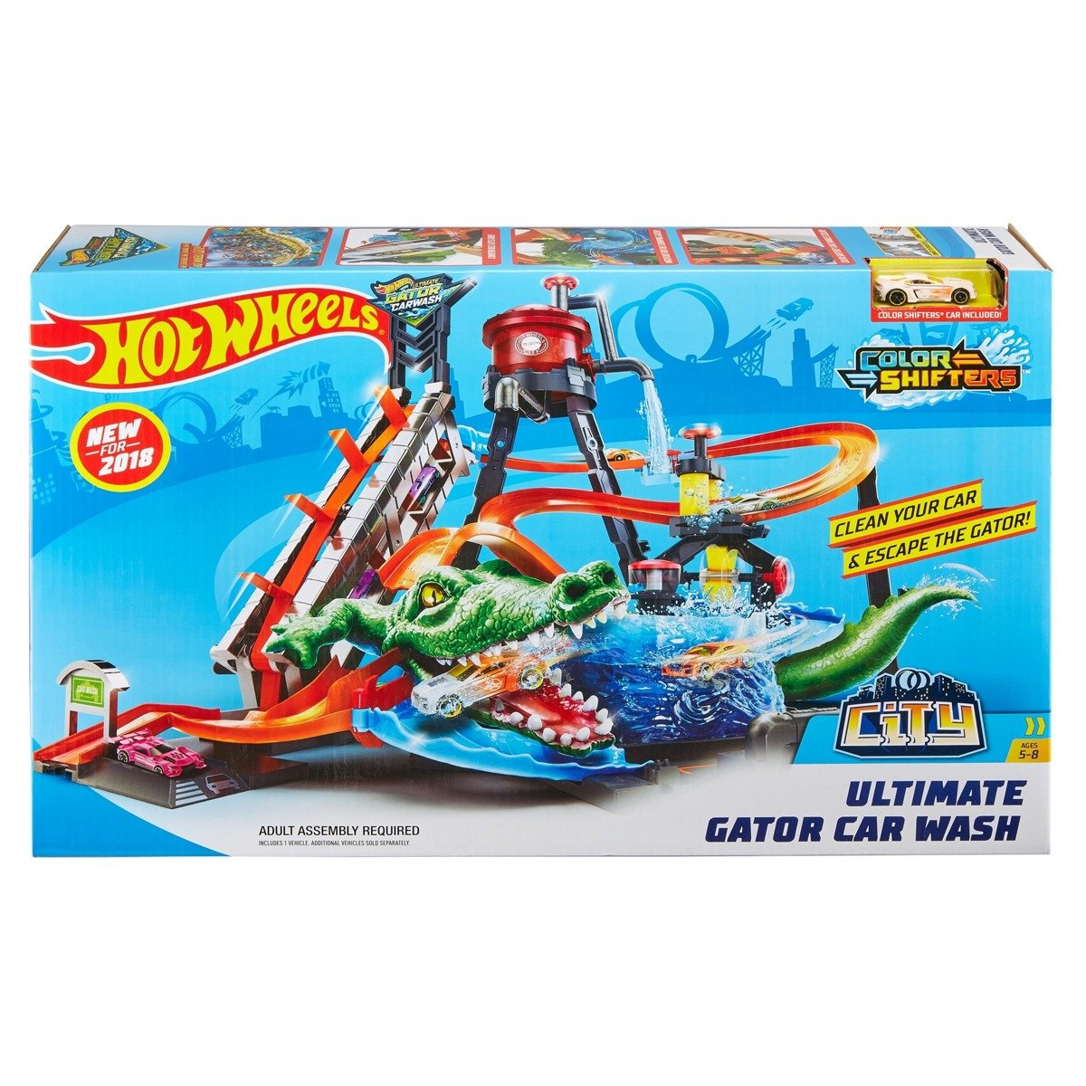 HOT WHEELS City MegaMyjnia Atak krokodyla FTB67